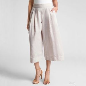 GAP High Rise Wide Leg Crop Pant Linen Pleated